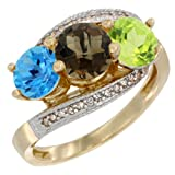 14K Yellow Gold Natural Swiss Blue Topaz, Smoky Topaz & Peridot 3 stone Ring Round 6mm Diamond Accent, sizes 5 - 10