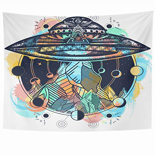 Ahawoso Tapestry 80x60 Inches Watercolor Space UFO Ship Mountains Color Tattoo Aliens Astrology Camping Kidnap Wall Hanging Home Decor Tapestries for Living Room Bedroom Dorm ()