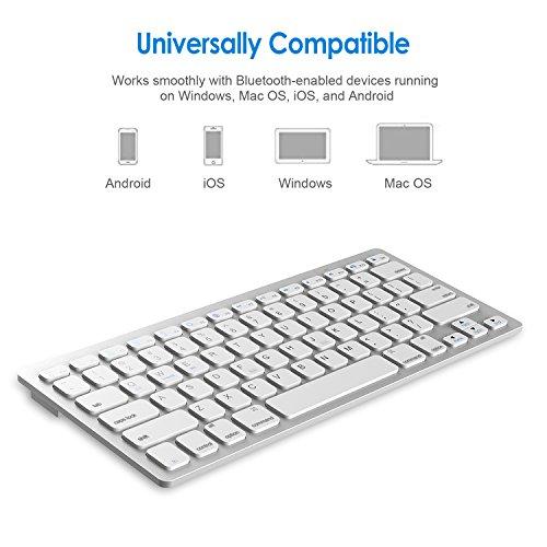 JETech 2156- Universal Bluetooth Wireless Keyboard, Portable, White by JETech (Image #4)