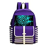 Fashion Printed Backpack Blue And Black Graphics School Bag
