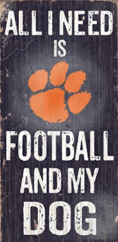 Clemson Tigers Wood Sign - Football And Dog 6''x12''