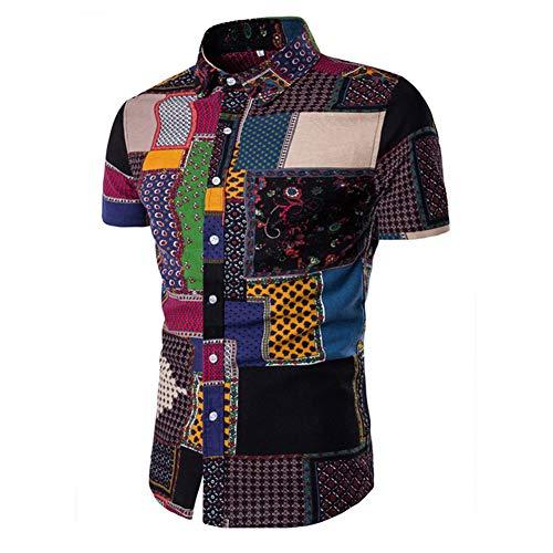 - USEMPER Men's Flower Shirts Beach Tropical Hawaiian Shirt Print Button Down Linen Patch Casual Short Sleeve Holiday Shirts A01-L(US:S)