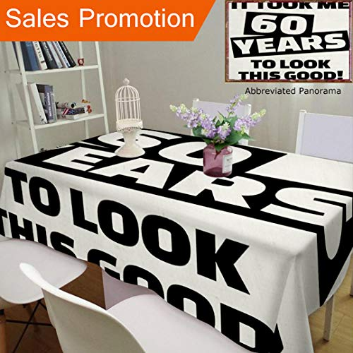 Unique Design Cotton and Linen Blend Tablecloth 60Th Birthday Decorations It Took Me 60 Years Party Quote Slogan Admire Theme Image Black ACustom Tablecovers for Rectangle Tables, Small Size ()