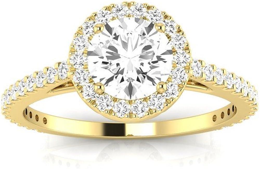 Amazon.com: 1 quilate. Anillo de compromiso de diamante ...