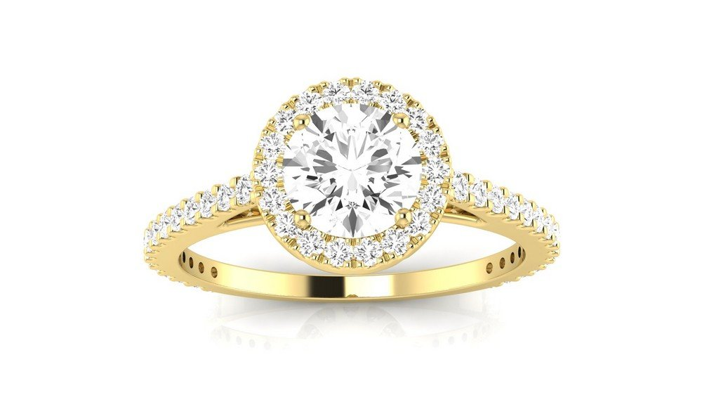 1 Carat t.w. 14K Yellow Gold Round Classic Halo Style Pave Set Round Shape Diamond Engagement Ring H-I I2 Clarity Center Stones.