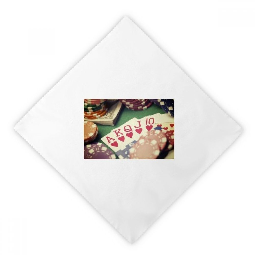 Hearts Flush Poker Gambling Photo Dinner Napkins Lunch White Reusable Cloth 2pcs