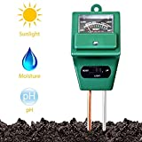 Soil Tester, MS02 3-in-1 Plant Moisture Sensor Meter/Light/pH Tester for Home, Garden, Lawn, Farm, Indoor & Outdoor Use, Promote Plants Healthy Growth