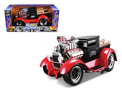 Maisto Muscle Machines - Ford Model AA Pickup w/ Engine Blower (1929, 1/18 scale diecast model car, Black & Red) 32201 diecast motorcycles and cars -  DiecastTW, 12023