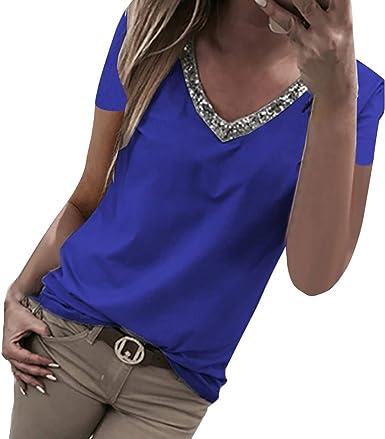 Luckycat Blusa Mujer Manga Corta con Lentejuelas Camisas Elegante Shirts Color Sólido Camisetas Cuello V Pullover Tops Camiseta de Lentejuela Casual de Mujer Camisa de Verano T Shirt Camisola Tops: Amazon.es: Ropa