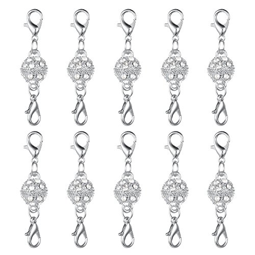 Dsmile Magnetic Jewelry Clasps Rhinestone Ball Style for Jewelry Necklace Bracelet,10 mm Silver Plated 10 Sets (Lobster Fancy Clasp)