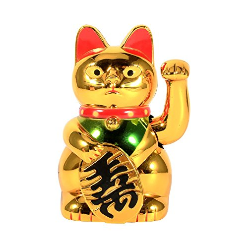 Zerodis Lucky Cat Waving Arm, Large Gold Cute Cat with Waving Hand Paw Up for Welcoming Fortune Luck Wealth Prosperity Feng Shui in Home Display Car ()
