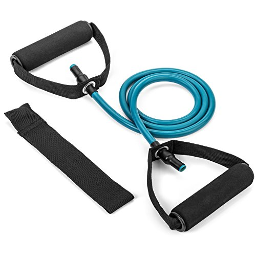 Tribe 3pc Set Single Resistance Band - with Door Anchor, Handles, Ankle Straps - For Resistance Training, Physical Therapy, Home Workouts, Boxing Training (Blue - 30bs)