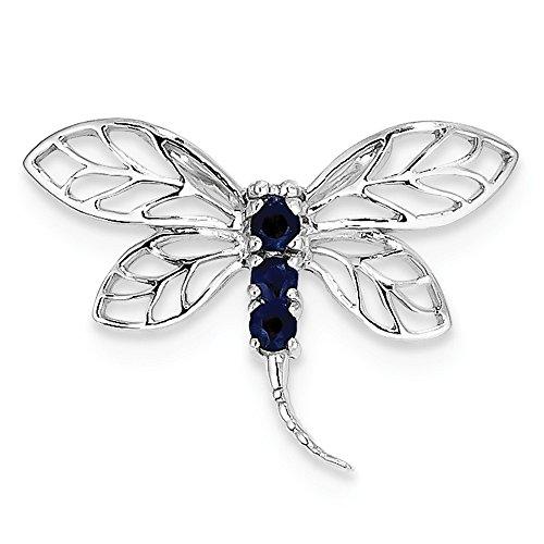 Sterling Silver Rhodium Sapphire Dragonfly Pendant - JewelryWeb