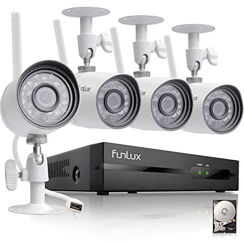Funlux 4 Channel 1080p HDMI NVR 4 720p HD Indoor Outdoor Wireless Home Security Camera System 500GB Hard Drive (Renewed)