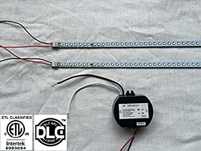 """AMATRON ETL & DLC Listed LED TROFFER RETROFIT KIT 2 x 22"""" LED MAGNETIC STRIPS 100~277Vac Non-Dimmable 20W 4100K Cool White to Replace 2 x 20Watts Fluorescent 2FT tube in 2' x 2' troffer"""