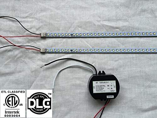 AMATRON ETL & DLC Listed LED TROFFER RETROFIT KIT 2 x 22'' LED MAGNETIC STRIPS 100~277Vac Non-Dimmable 20W 4100K Cool White to Replace 2 x 20Watts Fluorescent 2FT tube in 2' x 2' troffer by Amatron