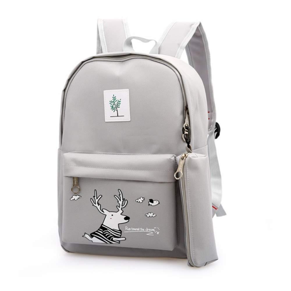 Color : Green Childrens School Bag 3 Pcs Teens Girls Backpack Sets Cute Deer Printing Laptop Bag Students Backpack Shoulder Bag Purse Casual School Bookbag Canvas SchoolBags for Travel Daily Use