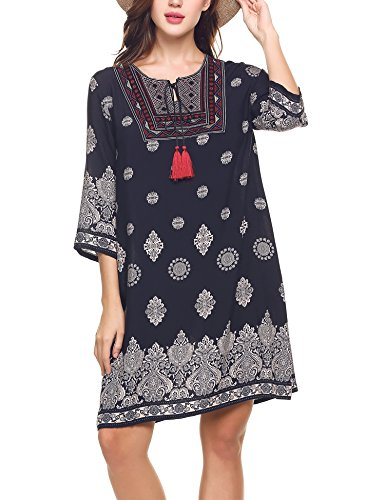 Boho-Chic Vacation & Fall Looks - Standard & Plus Size Styless - Meaneor Women's Bohemian Vintage Printed Loose Casual Boho Tunic Dress Blue S