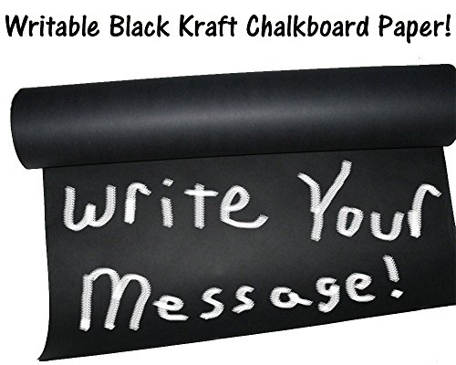 15' x 2' -Chalkboard Black Kraft Paper Roll, 50lb Writeable Table-Cloth Paper, Black Kraft Gift Wrapping Paper ()
