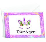 50 Colorful Thank You Note Card with Rainbow Unicorn Horn Design and Blank Greeting Space - A Bulk Box Set of Smooth and Glossy Card with Flap Envelopes