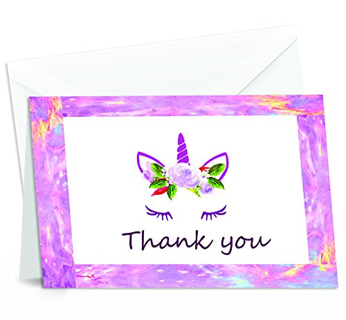 Unicorn Thank You Cards - 4x7 Inches of 50 Purple and Pink Unicorn Design Blank Card Notes with Envelopes - Perfect for Kids and Birthday Parties, Write Happy Gift-Notes for Baby, Graduation, Weddings -
