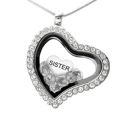 Sister mémoire Médaillon Collier avec cristal de Swarovski flottant Charms Chaîne de 45,7cm dans une boîte cadeau