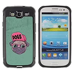 Jordan Colourful Shop@ Dog Pug Funny Art Swag Style Glasses Hipster Rugged hybrid Protection Impact Case Cover For S3 Case ,I9300 Case Cover ,I9308 case ,Leather for S3 ,S3 Leather Cover Case
