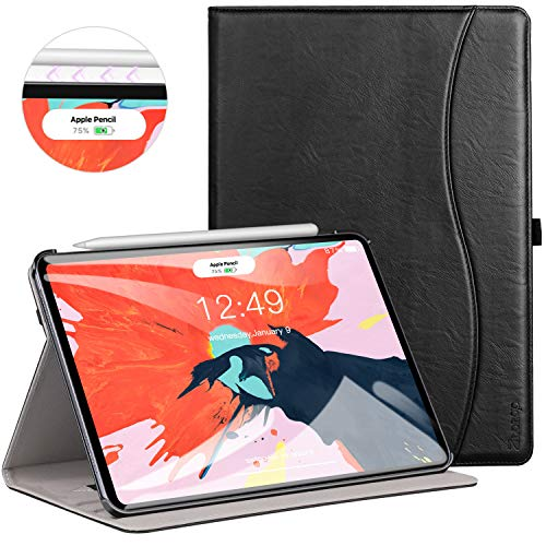 Ztotop for iPad Pro 12.9 Case 2018, Leather Folio Stand Case Smart Cover for 2018 iPad Pro 12.9-inch 3rd Generation (Supports iPad Pencil Charging) with Auto Sleep/Wake Strap Pocket - Black