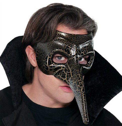 Venetian Bird Mask (Venetian Long Nose Mask - Black/Gold)