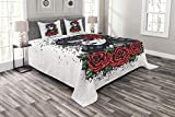 Lunarable Skull Bedspread Set King Size, Dead Hair Sugar Skull Lady with Roses in Retro Ink Style Design Print, Decorative Quilted 3 Piece Coverlet Set with 2 Pillow Shams, Red Black White Green