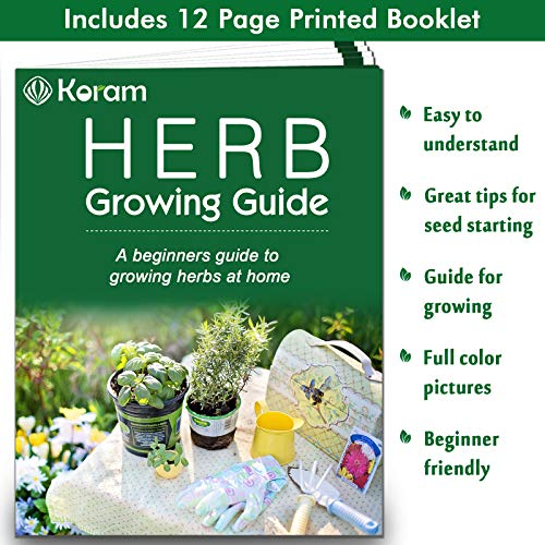 KORAM Herb Garden Kit Growing Kit Gardening Starter Set- 10 Herbs Grow from Organic Seeds Indoor Herb Kit with Everything a Gardener Needs for Growing Herbs Indoors, Kitchen, Balcony, Window Sill by KORAM (Image #7)