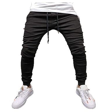 ZOELOVE Pantalones chandals Hombre Pantalones har/én Casual Pantal/ón Slim Jogging Pantalones Deportivos de con Cordones para Hombre Color s/ólido Stretch Moda Pants Trousers