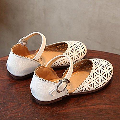 IGEMY Kleinkind Baby geometrische hohle Sandelholze, Kind Mädchen Leder Prinzessin Shoes Weiß