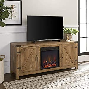 """Walker Edison Farmhouse Barn Wood Fireplace Stand for TV's up to 64"""" Flat Screen Living Room Storage Cabinet Doors and Shelves Entertainment Center, Barnwood"""