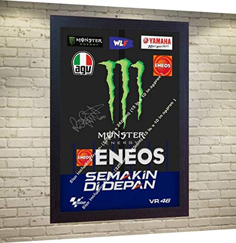 (S&E DESING New Valentino Rossi Signed Autographed Printed on Canvas 100% Cotton Framed)