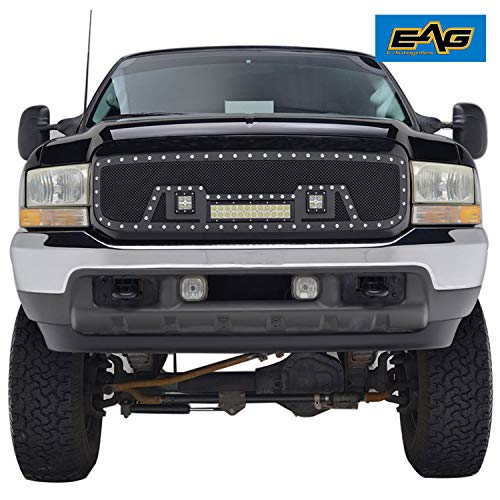 Price comparison product image Rivet Grille Packaged Matte Black Stainless Steel Wire Mesh With Three LED Lights for 99-04 Ford Super Duty