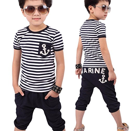 Sunward Baby Boys New Summer Children Clothing Boys Navy Striped T-shirt And Pants Suits (130, Blue)