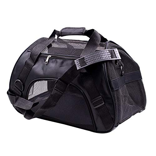 DLAGER Foldable Pet Carrier, Tall Profile Soft Sided Luxury Travel Tote with Pad, Under Seat Compatibility, Perfect for Cats and Small Dogs (Black)