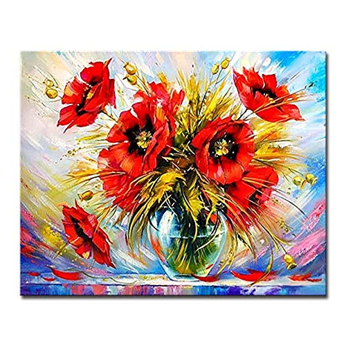 Paintyty Painting by Numbers DIY Painting by Numbers Digital Drawing Red Flower Oil Pictures Hand Paint Poppy On Canvas Coloring Romantic Home Decor Wall - Poppy 268