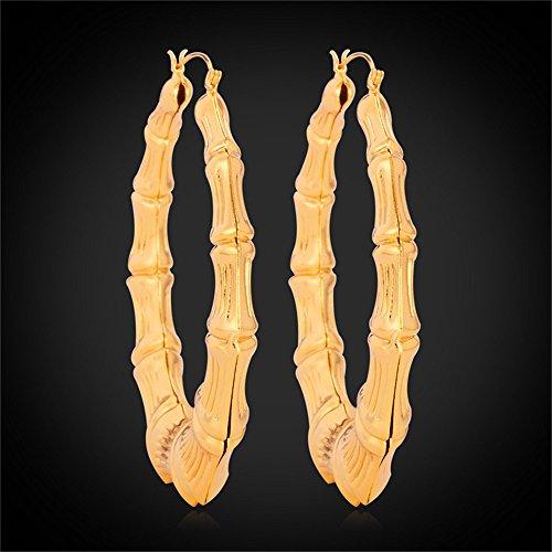 U7 Gold Bamboo Earrings 18K Gold Plated Big Grain Big Basket Ball Wives  Jewelry For Women Jewelry Hoop Loop Earrings