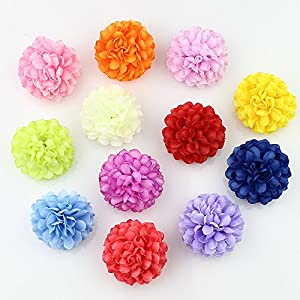 Flower Head in Bulk Wholesale for Crafts Silk Carnation Artificial Pompom Mini Hydrangea Party Home Wedding Decoration DIY Fake Wreaths Festival Decor 30pcs 5cm 7