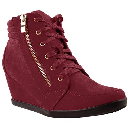 136664984aa8e SNJ Women High Top Wedge Heel Sneakers Platform Lace Up Shoes Ankle ...