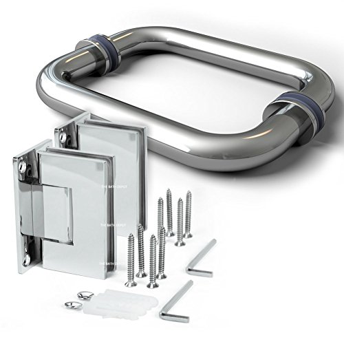 Frameless Shower Door Hinge and Pull Handle Set Polished Chrome Stainless Steel (Chrome Door Handles And Hinges compare prices)