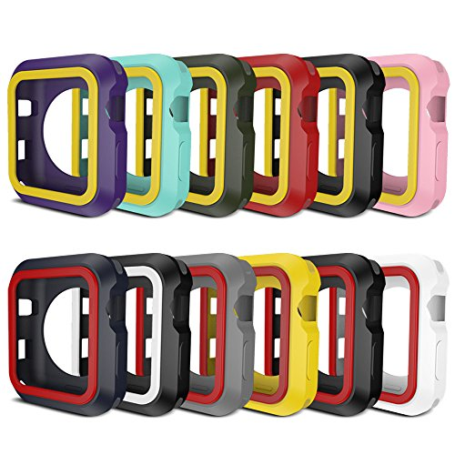AWINNER Colorful Case for Apple Watch,Shock-proof and Shatter-resistant Protective iwatch Silicone Case for Apple Watch Series 3,Series 2,Series 1, Nike+,Sport,Edition (12-Colour, 38mm) by AWINNER