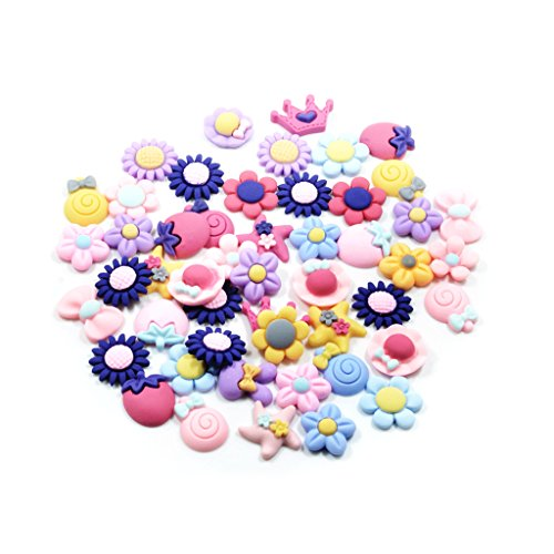 50 Pieces Lots Mixed DIY Kawaii Flatbacks Resin Flat Back Flowers Star Lollipop Cabochon Buttons Scrapbooking Slime Charm DIY Embellishment Craft