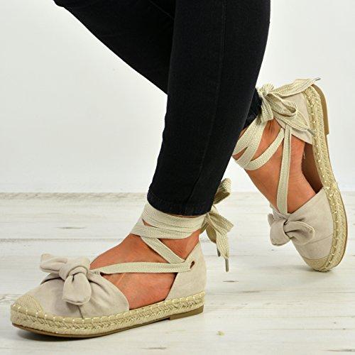 New 8 Cucu Espadrille Fashion Ladies 3 Wrap Beige Size UK Flats Bow Womens Lace Shoes Ankle up 55Zg0xrq