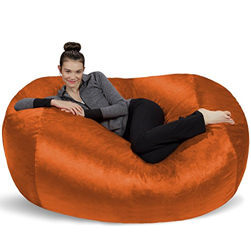 - Sofa Sack - Plush Bean Bag Sofas with Super Soft Microsuede Cover - XL Memory Foam Stuffed Lounger Chairs for Kids, Adults, Couples - Jumbo Bean Bag Chair Furniture - Tangerine 6'
