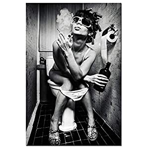 sechars- Fashion Toilet Sexy Woman Canvas Print Modern Bar Girl Smoking and Drinking in Restroom Painting Picture Poster Framed for Bedroom Hotel Wall Decoration -24x36inches