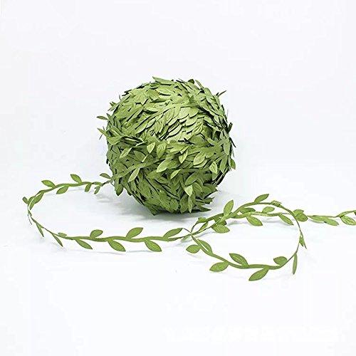 Olive Green Leaves Leaf Trim Ribbon -21.8 Yards, DIY Leaf Headband,DIY Leaf Napkin Rings, Leaf Balloon Tail, DIY Leaf Crown, Leaves Garland, Ribbon Craft Sewing DIY Wedding Bouquet