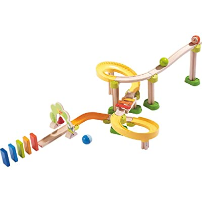 HABA Kullerbu Sim-Sala-Kling - 38 Piece Wooden & Plastic Ball Tack Set with Steep Curves and Musical Effects: Toys & Games